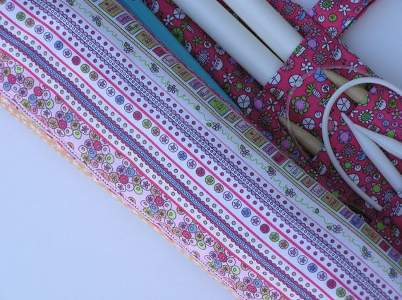 Ready to SHIP - large knitting needle organizer - knitting needle case - angels in bloom- 36 pockets