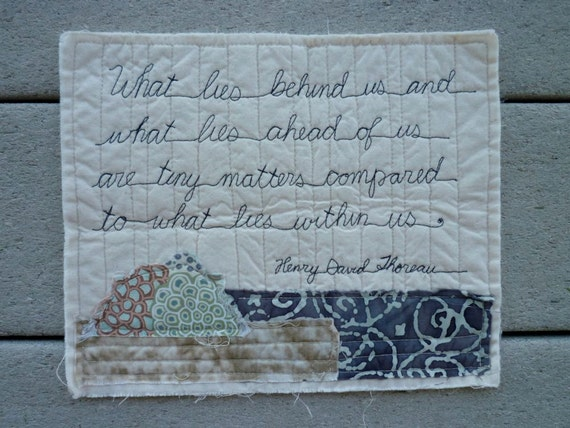 Henry David Thoreau Poetry Quilted Quote stitched words