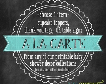 Baby shower DIY printable toppers, tags, or signs