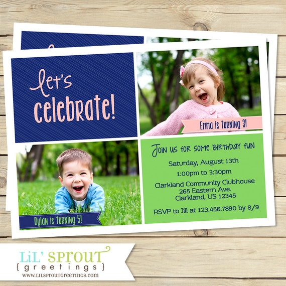 Printable Joint Birthday Party Invitations ~ Joint birthday party invitation sibling twin boy girl