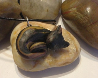 Hand sulpted Polymer Clay Cat... Free Shipping
