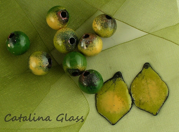 Enameled Copper Components by Catalina Glass SRA Lemon Lime Beads and Leaves