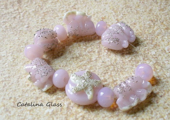 Lampwork Glass Beads  SRA Pink and Gold Seashell Beach Set by Catalina Glass