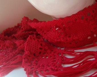 Red Bobbin Lace Scarf