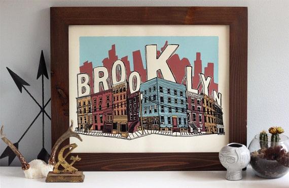 Brooklyn Poster - 20 x 16 - 5 color limited edition silkscreen art print - Hero Design Studio