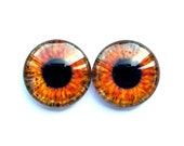 Pair of Handmade Glass Eye Cabochons, Brown, 20mm, Oops Quality: CHESTNUT