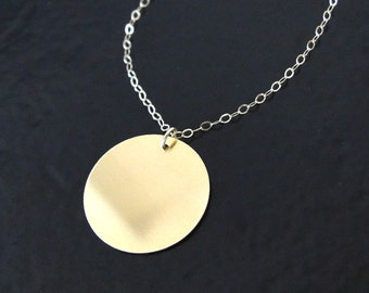 Circle Pendant Necklace, Can Be Engraved - 16mm Circle Coin Drop As Seen On Reese Witherspoon, 14K, 10K Gold Yellow or White Gold