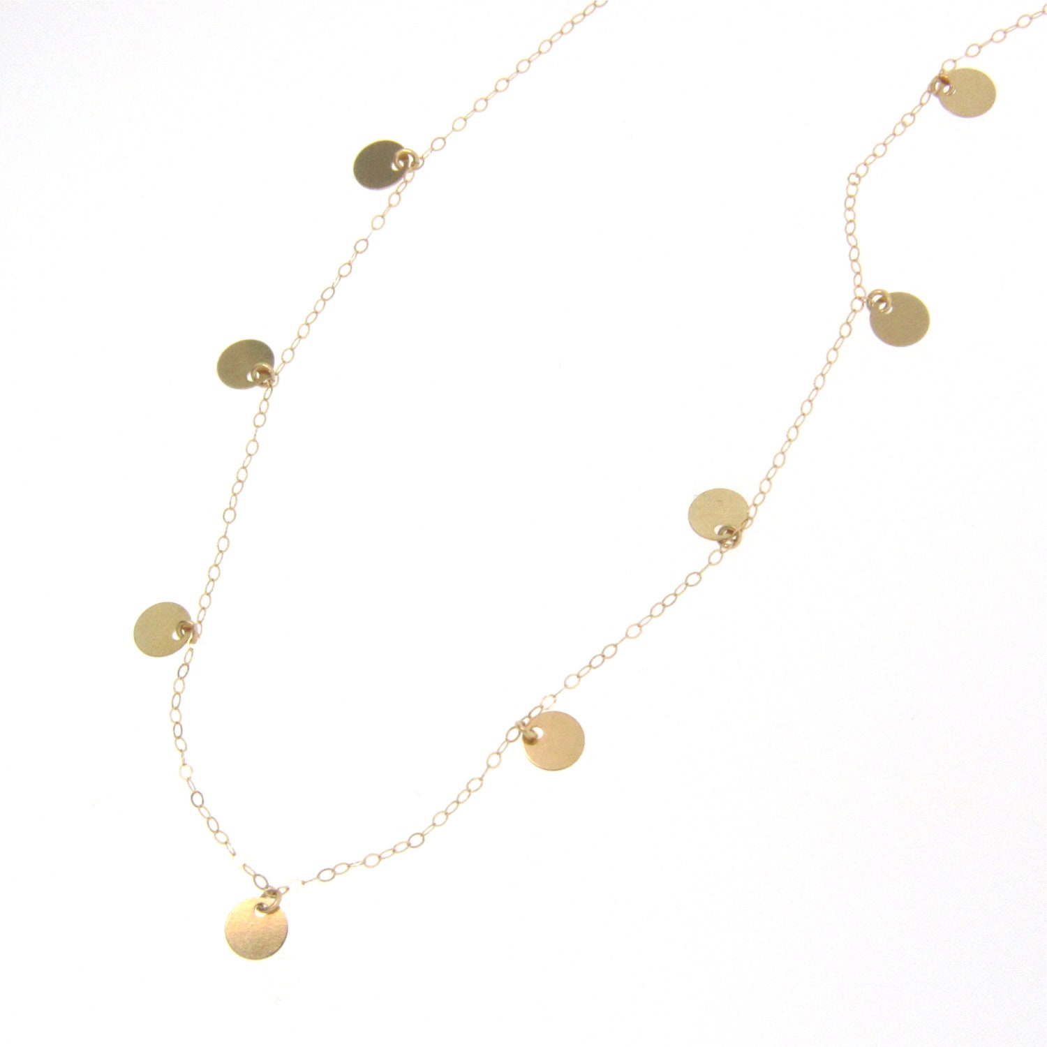 Small Disc Coin Drop Necklace 14k Gold Floating Dots