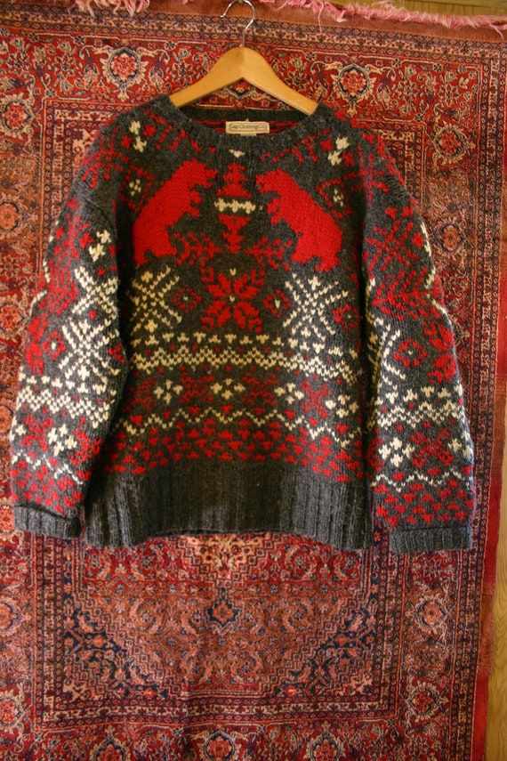 Vintage 80's GAP Clothing Co. Thick Knit WOOL Nordic Bear Snowflake Sweater - size Medium