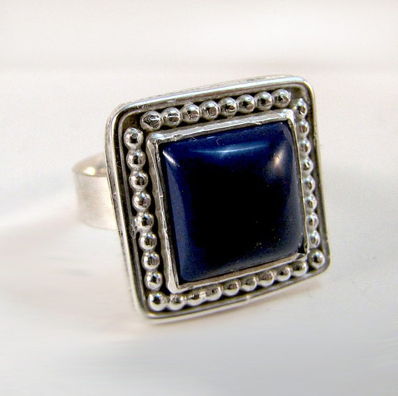 Square Lapis Lazuli and Silver Ring