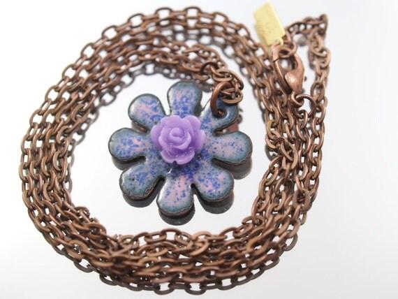 Daisy Flower Enamel Necklace Peach & Red Kiln Enameled One-of-a-Kind Handmade Pendant