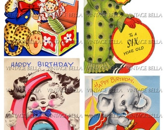 Vintage 1940s Children Animal Circus Clowns Balloons AGE 6 Birthday Greeting Card Digital Download 203 - by Vintage Bella