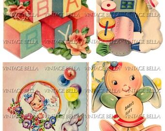 Vintage 1940s Baby Birth Greeting Card Digital Download 265 - by Vintage Bella collage sheet