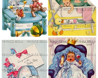 Vintage 1950s Baby BOY Birth Greeting Card Digital Download 272 - by Vintage Bella collage sheet