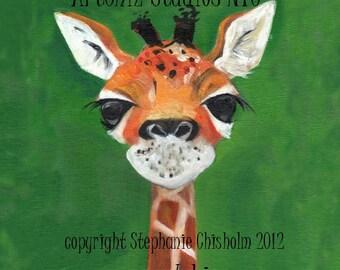 Cute Baby Giraffe Art. Timmie. Sweet Sleepy Baby Giraffe. Awesome Baby Shower Gift. Children's illustration, kids art print, poster