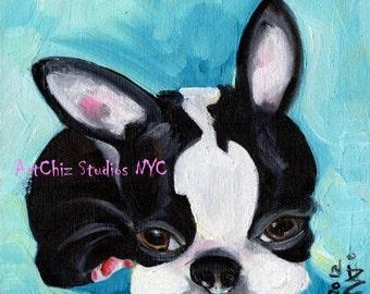 "French Bull Dog Puppy Art -  Puppy Art Print - ""Baby Blue Belle"" -  Cute DoG Art - French Bull Dog"