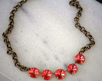 Swarovski crystal bright red padparadchsa 12mm rivoli chain necklace,antique brass setting sparlkling light ruby red fancy stone necklace