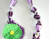 Chunky Fabric Flower Necklace Purple
