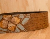 Leather Guitar Strap - Antique Brown - Personalized Smokey Pattern with Flowers