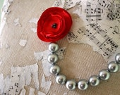 Red and Gray statement necklace, Gray pearl bead and red fabric flower bridesmaid necklace