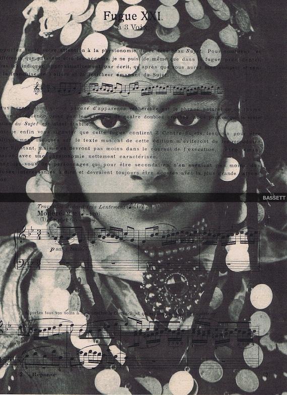 Arab.Music Sheet,Gift .Repurposed. Prints .Vintage  Woman/Tunisian/Algerian Photo /Paper/Ephemera.freebie,ethnic.exotic.headdress.eco
