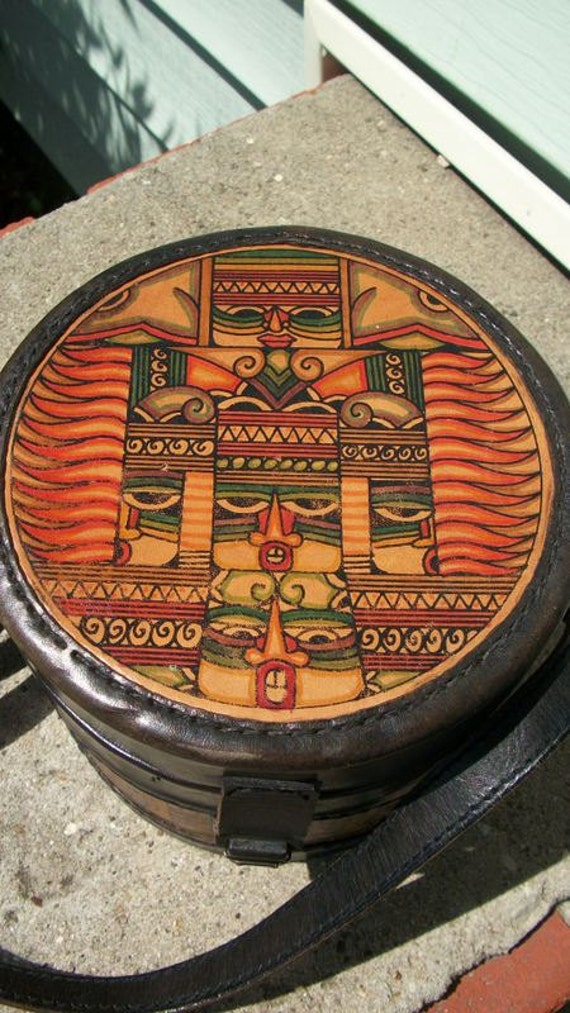 IDONESIAN Vintage 80s Odd Round Ethnic Leather Graphic Tiki Aztec Mask Little Crossbody Purse