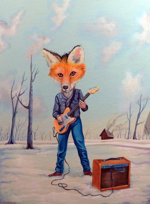 Original Animal Art Fox Head Guitar Player Mr Hooper
