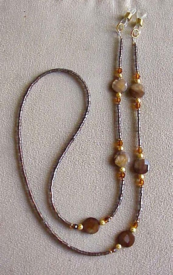 Shimmering Brown Crystal Eyeglass Chain Holder