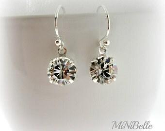Rhinestone Crystal Earrings. Bridal Earrings. Round Drop Earrings. Swarovski Rhinestone Earrings. Bridesmaids Earrings