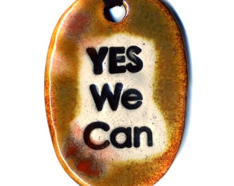Yes We Can Ceramic Necklace in Brown
