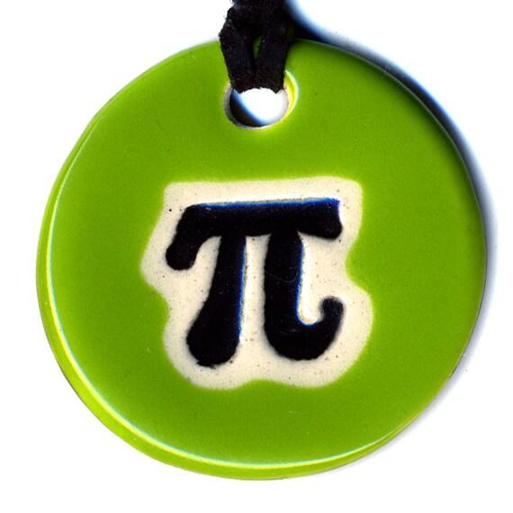 Pi Symbol Ceramic Necklace in Green