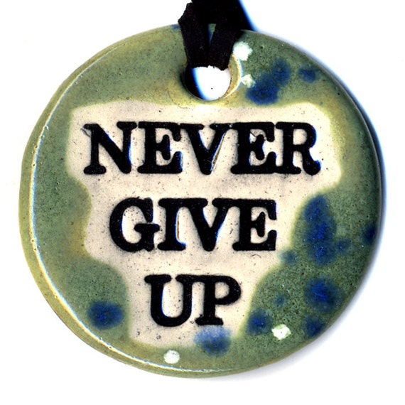 Never Give Up Ceramic Necklace in Spotted Green