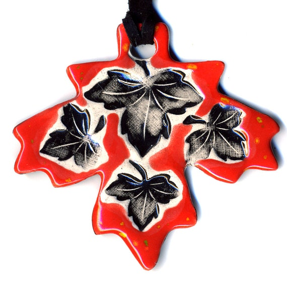Maple Leaf Ceramic Necklace in Red