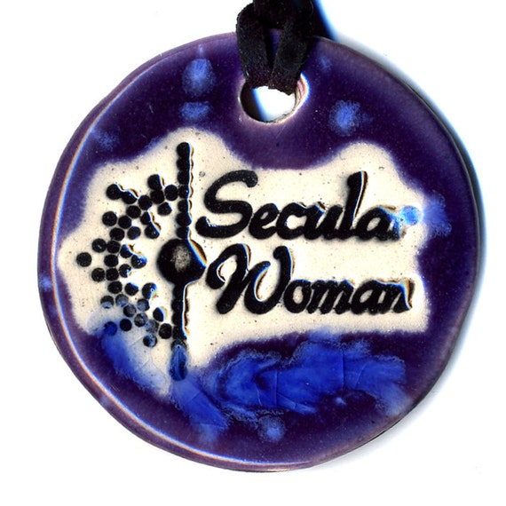 Secular Woman Fundraiser Ceramic Necklace in Purple and Blue