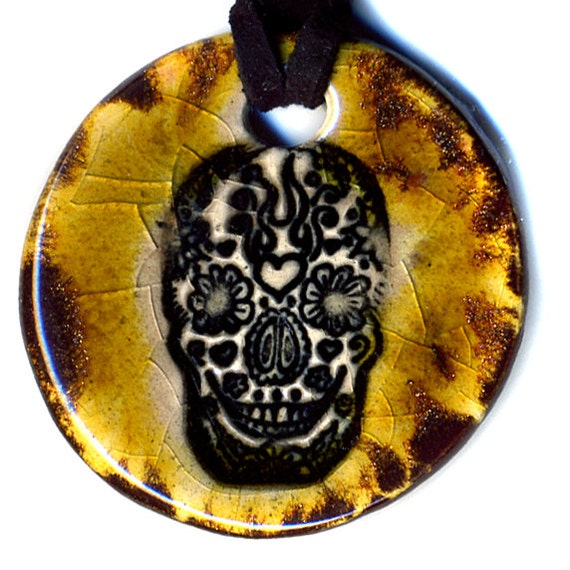 Day of the Dead Skull Ceramic Necklace in Bronze Crackle