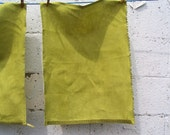 Warm Green Tea Towel Organic Hemp Measuring Tape Trim - Hand dyed - One towel