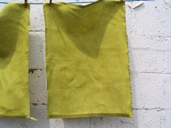 Warm Green Tea Towel Organic Hemp Measuring Tape Trim - Hand dyed - One towel