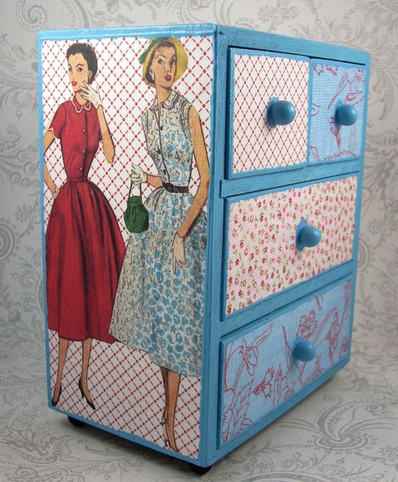 Blue and Red Retro Patchwork Stash Jewelry Box