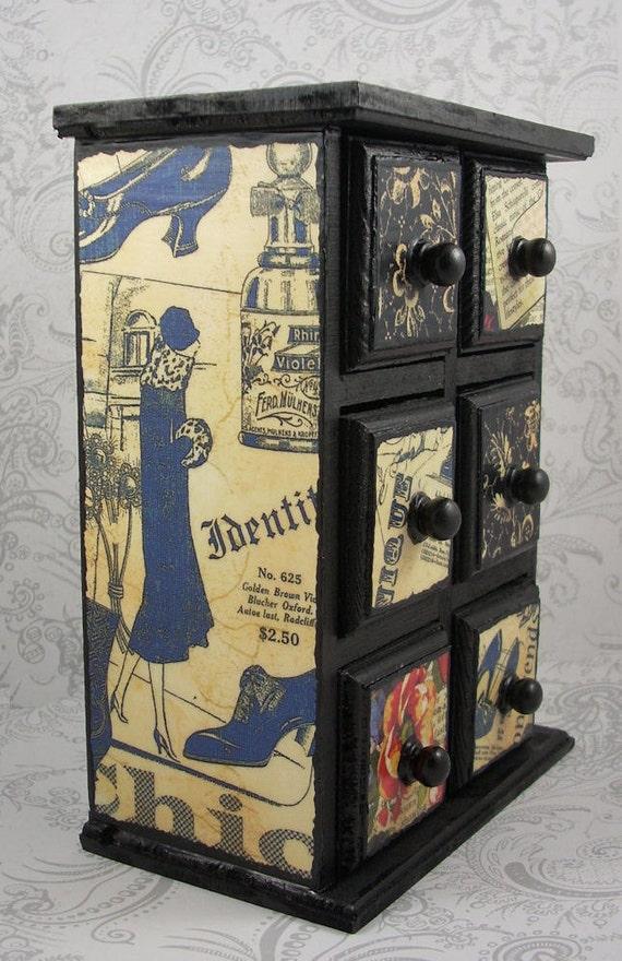 Art Deco Flapper Girl Patchwork Stash Jewelry Box