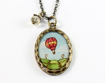 Hot Air Balloon Ride Over an Idyllic Countryside Hand No. 5 Painted Necklace