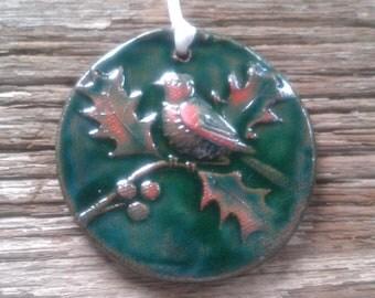 Green Christmas Good Luck Bird Tile Ornament