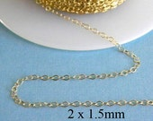 20 ft - 14k Gold Filled Flat Cable Chain  2 x 1.5mm
