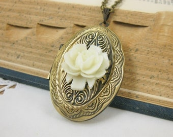 Antiqued Brass Locket Necklace with Winter White Rose  24 Inch Chain Romantic Vintage Style Gift for Her Under 20