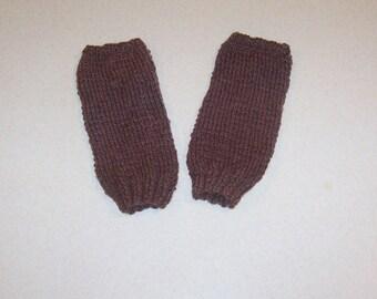 Hand Knit Brown Fingerless Mitten Gloves