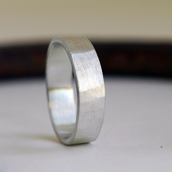 6mm Mens Wedding Band Recycled Sterling Silver Mens