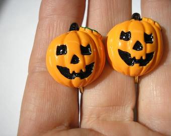 Pumpkin Earring - Clip - Round Pumpkin Face