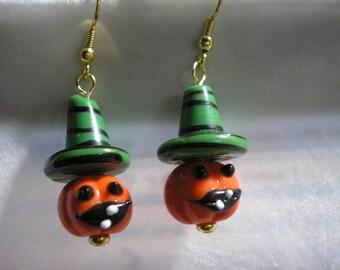 Pumpkin w/Witch's Hat - Earring - Dangle - Green hat