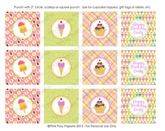 Printable Ice Cream Social Birthday Cupcake Toppers