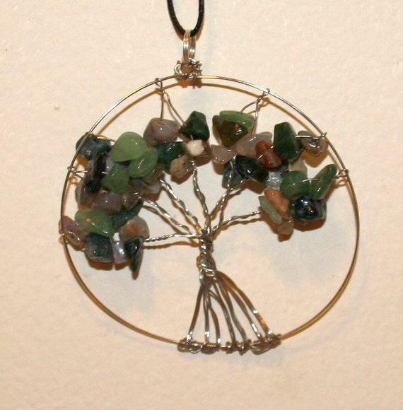 fancy jasper tree of life wire pendant necklace semi-precious gemstones
