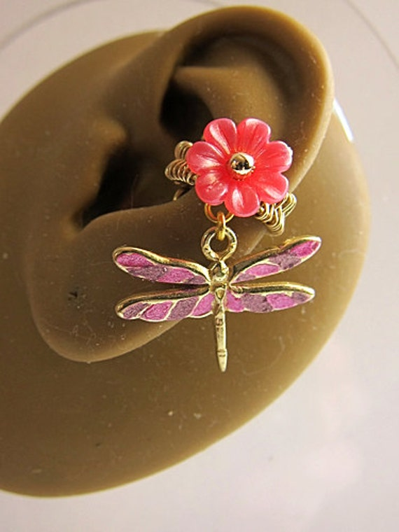 Simple Pink Dragonfly Ear Cuff Nature Gold Flower Sweet Feminine Forest Dangle